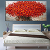 Heavy Textured Palette Knife Oil Paintings On Canvas Hand Painted Modern Abstract 3D Red Flowers Wall Decorative Pictures Art 2