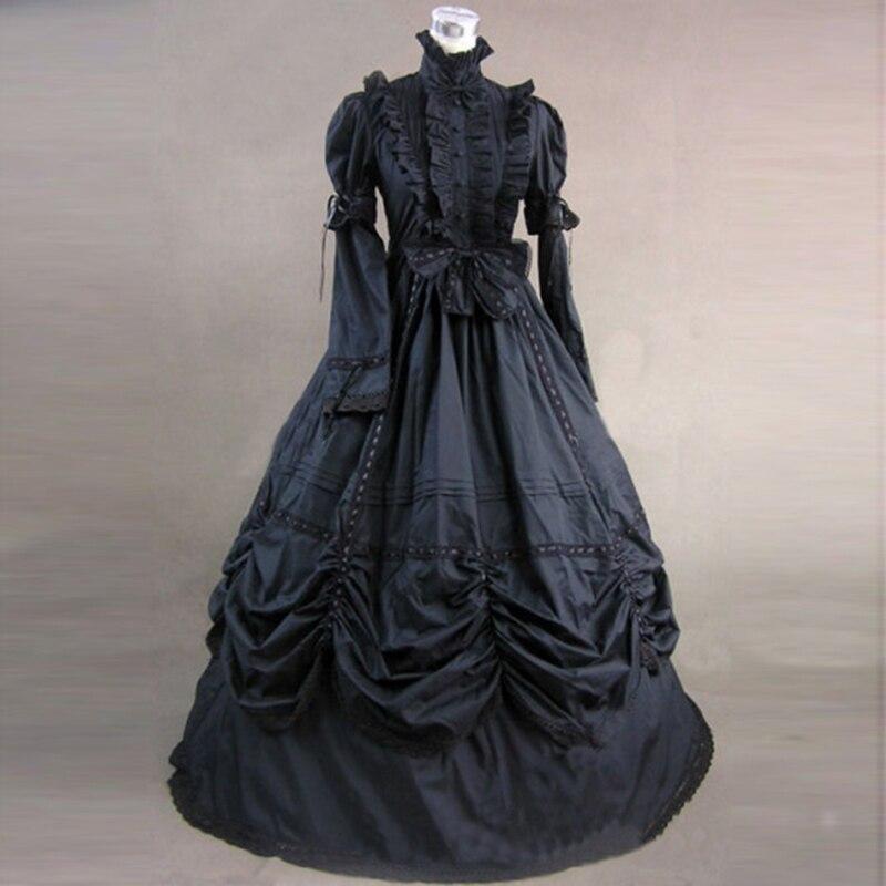 Noir À Manches Longues Gothique Victorienne Période Parti Princesse Robe Rétro Coton Européenne Cour Robes De Bal Costume Pour Halloween