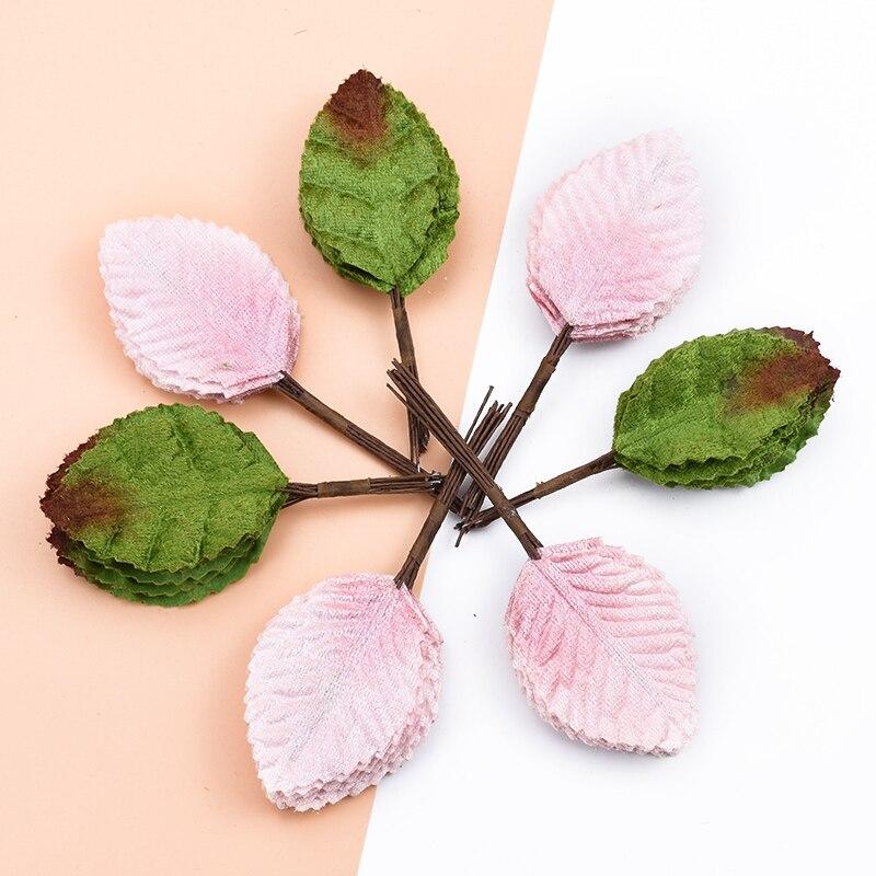 12pcs Fake Green Leaf For Wedding Home Decoration Accessories Scrapbooking Silk Leaf Diy Decorative Wreaths Artificial Plants