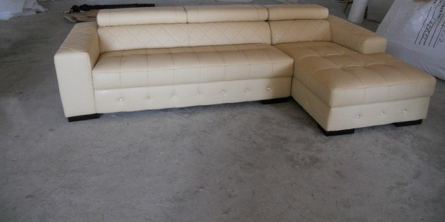 Modern First Layer Genuine Leather Sofa Sitting Room Combined Adjule Backrest In