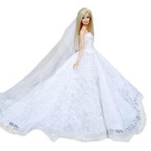 Феи для девочки платье для куклы игрушка белое свадебное платье принцессы Вечерние элегантная детская одежда, одежда для девочек с фата кукла аксессуары для Барби игрушки