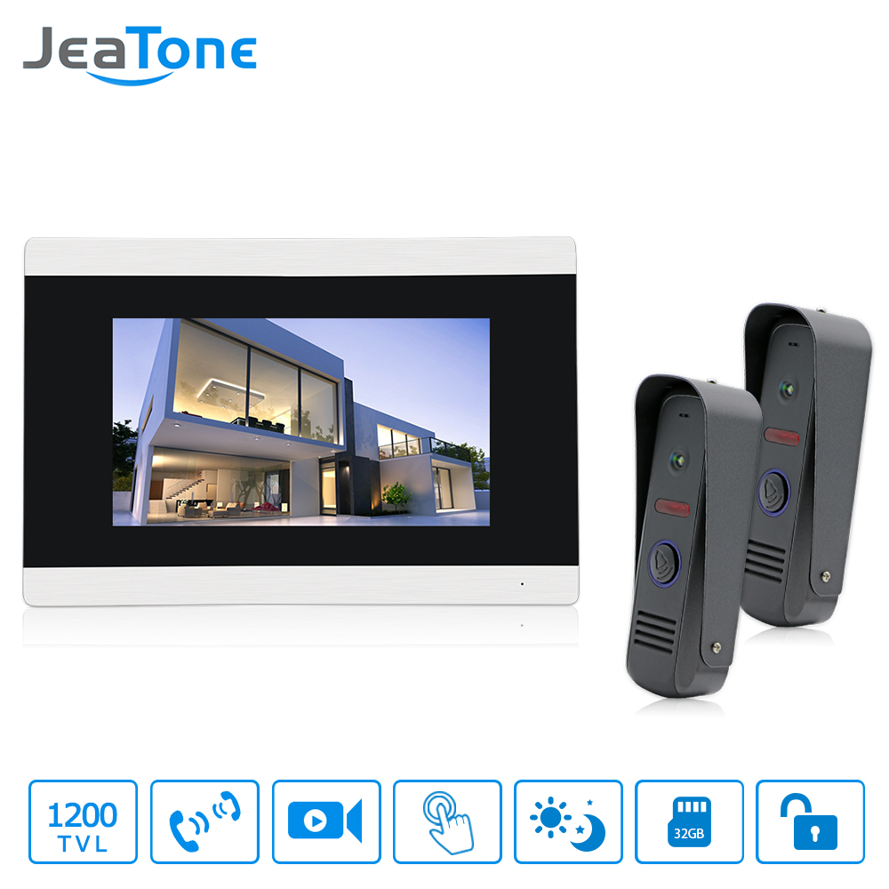 Jeatone 7 inch Touch Screen Monitor Color Video Door Phone Intercom System Night Vision Waterproof Outdoor Camera Saved Pictures tmezon 4 inch tft color monitor 1200tvl camera video door phone intercom security speaker system waterproof ir night vision 1v1