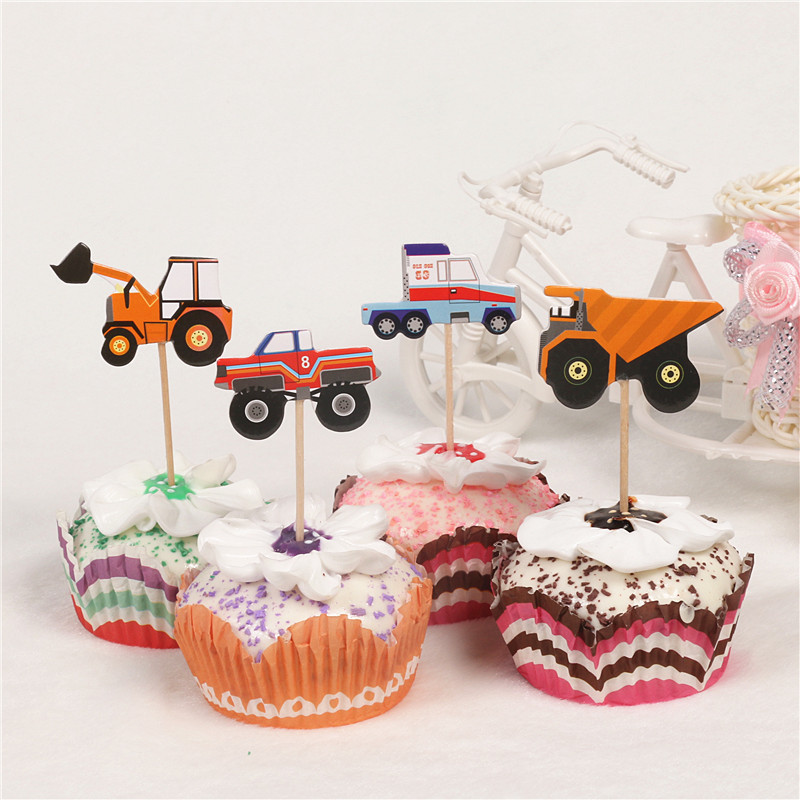 24pcs Construction Vehicle Cupcake Topper Excavator Bulldozer Truck Cake Decorating Supply for Boys Birthday Party Decorations