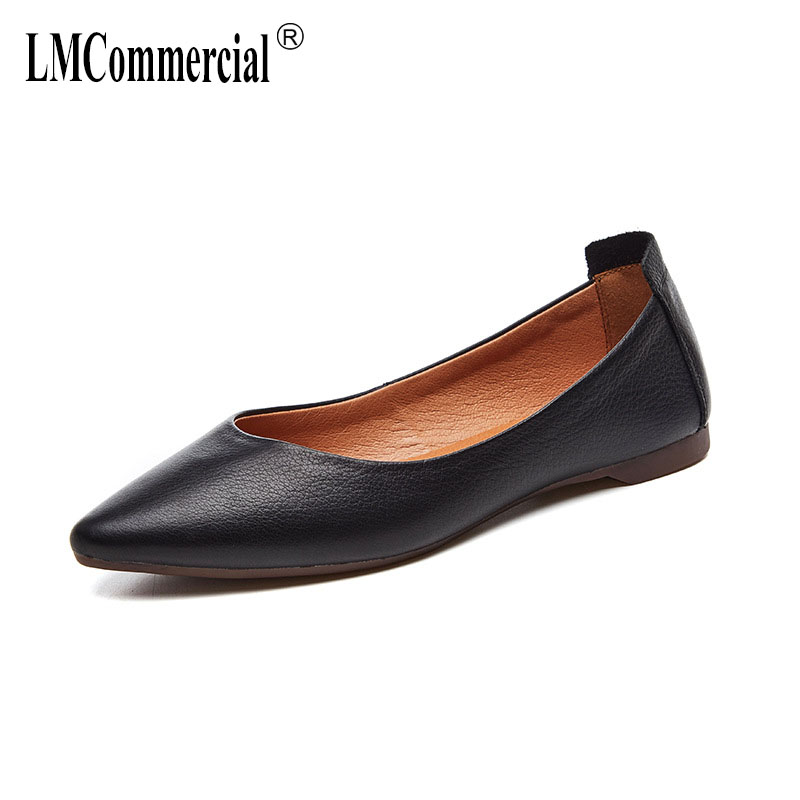 flat shoes joker cowhide leather fashion footwear tines a undertakes work shoes lazy women spring autumn summer ladies shoes