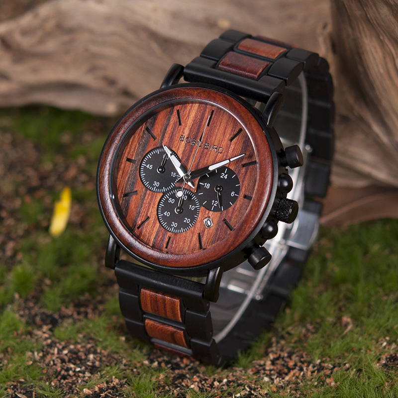 BOBO BIRD Wooden Watch Men Stopwatch Bamboo Wrist Watch Male With Date Create Clock Gift In Wood Box saat erkek beaudoin s wise young fool