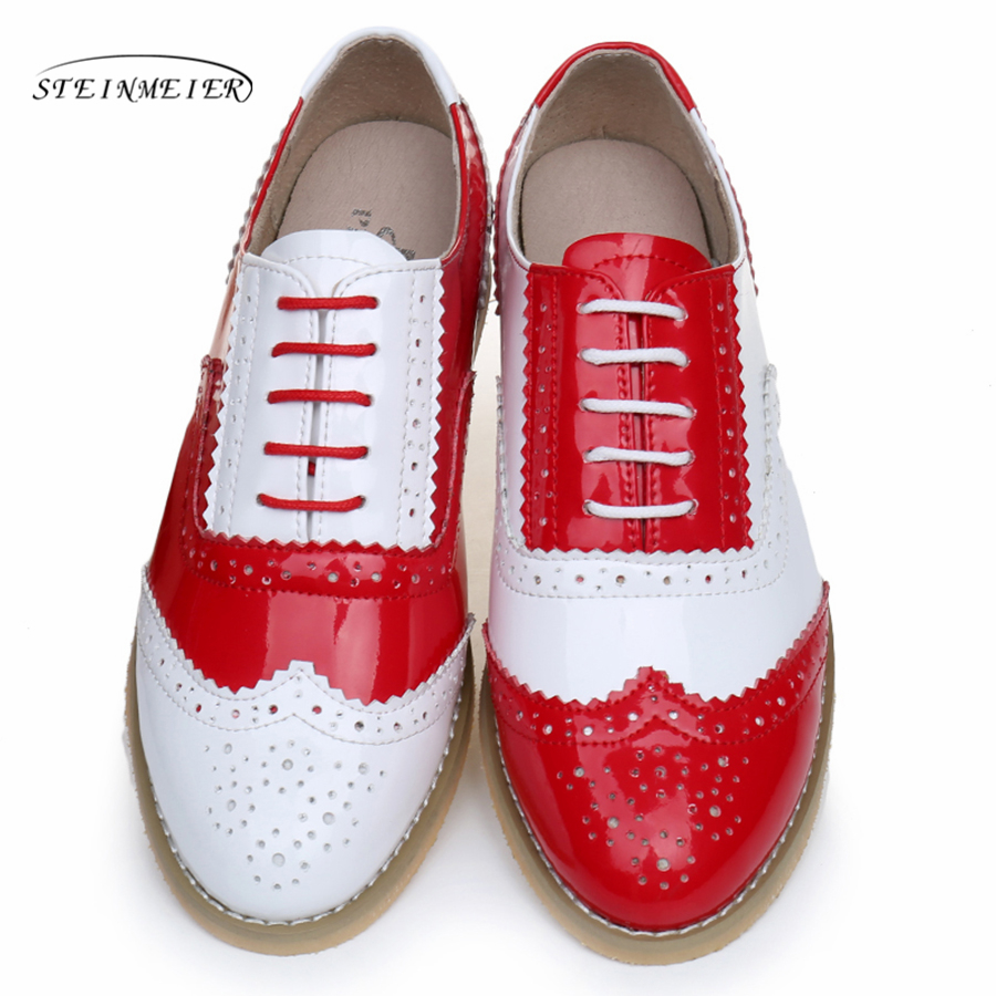 2018 women full grain leather lover oxford shoes round toe handmade flat shoes red white oxfords shoes for women with fur trendy women s flat shoes with round toe and tassels design