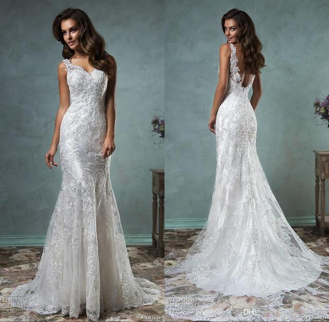 613ae5428b45 HQ Amelia Sposa Wedding Dresses Lace Strap V Neck Appliques Lace Beautiful  Trumpet Fit to Flare Mermaid Sexy Bridal Gowns