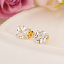 Luxury Fashion Design 24 K Solid Fine Yellow Gold Finish Cubic Zirconia Square Wedding Stud Earring For Women