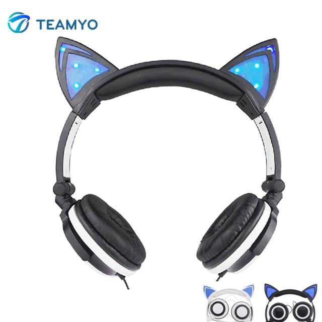 2016 Cute Cat Ear Headset Plegable de Luz LED Que Brilla Intensamente Que Destella Auriculares para Juegos de Auriculares Para PC Teléfono Móvil Ordenador MP3
