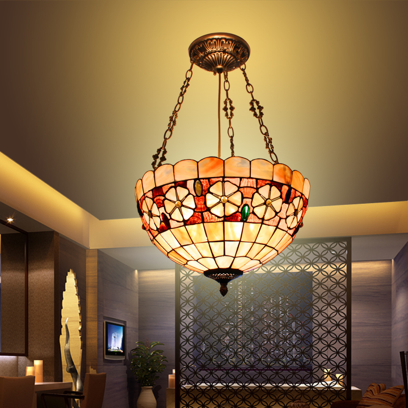 European Mediterranean tiffany retro pendant light shell  bedroom study home garden restaurant lampEuropean Mediterranean tiffany retro pendant light shell  bedroom study home garden restaurant lamp