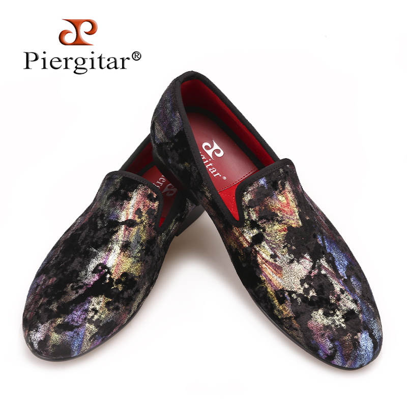 Piergitar 2017 New Colorful Prints designs Men velvet shoes Fashion Party and Club men's loafers big size male smoking slippers 2016 new fashion men leopard cotton fabric shoes british mens flats smoking slippers men loafers casual shoes plus size 4 17