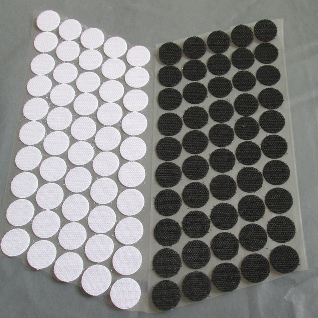 100pairs black and white magic nylon sticker double sided adhesive hooks loops disks round fastener tape