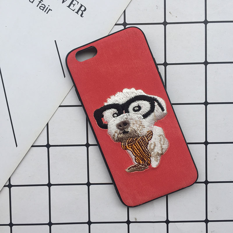 Tfshining Cute 3D Embroidery Cover Case For iPhone XS Max XR X 6 6s 7 8 Plus Soft Full Dog Teddy Pug Husky Dog Mobile Phone Case (14)