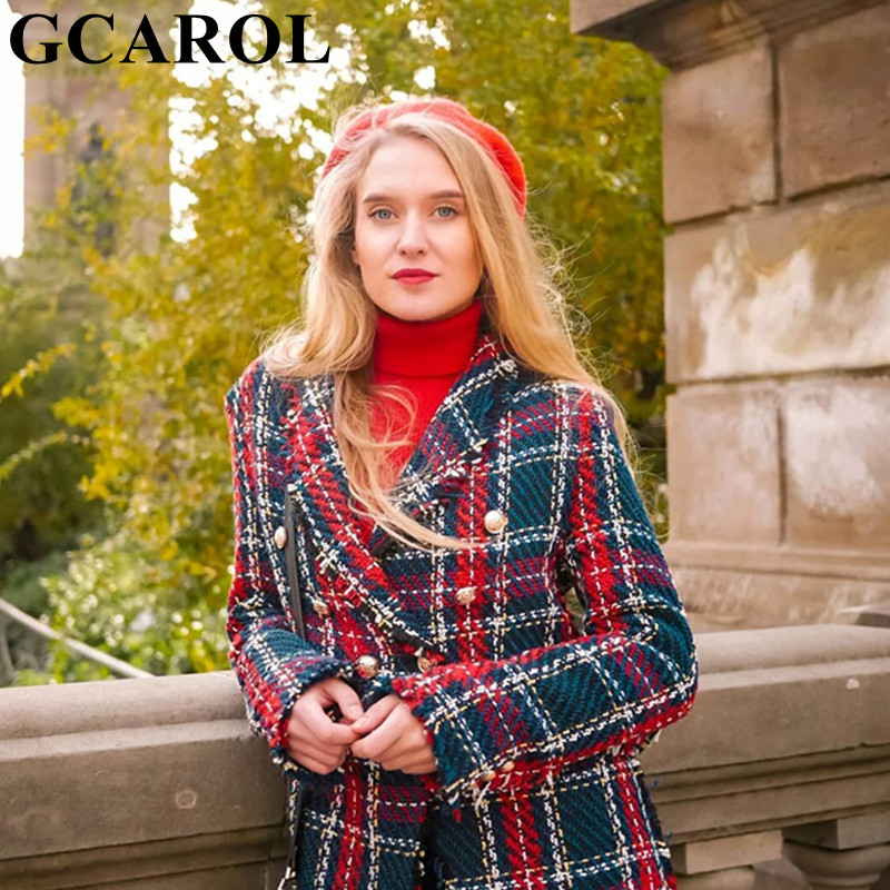 GCAROL New Fall Winter Women Twist Tweed Plaid Blazer Houndstooth Checked Jacket Tassels Buttons Thick Warm Elegant Suit