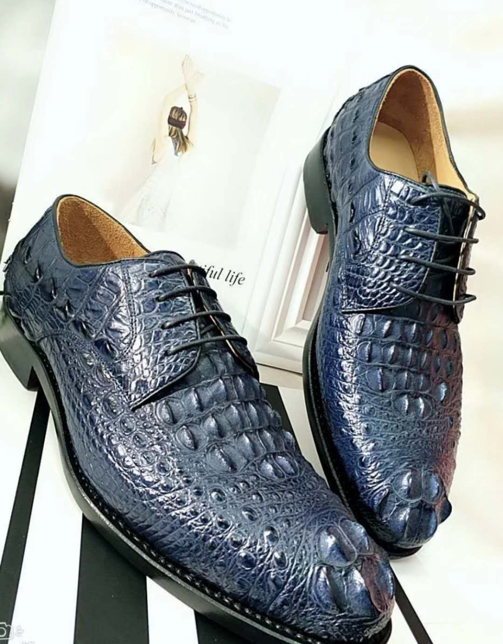 100% Genuine real crocodile head skin men shoe durable solid crocodile tail skin men dress business shoe dark blue color 100% Genuine real crocodile head skin men shoe durable solid crocodile tail skin men dress business shoe dark blue color