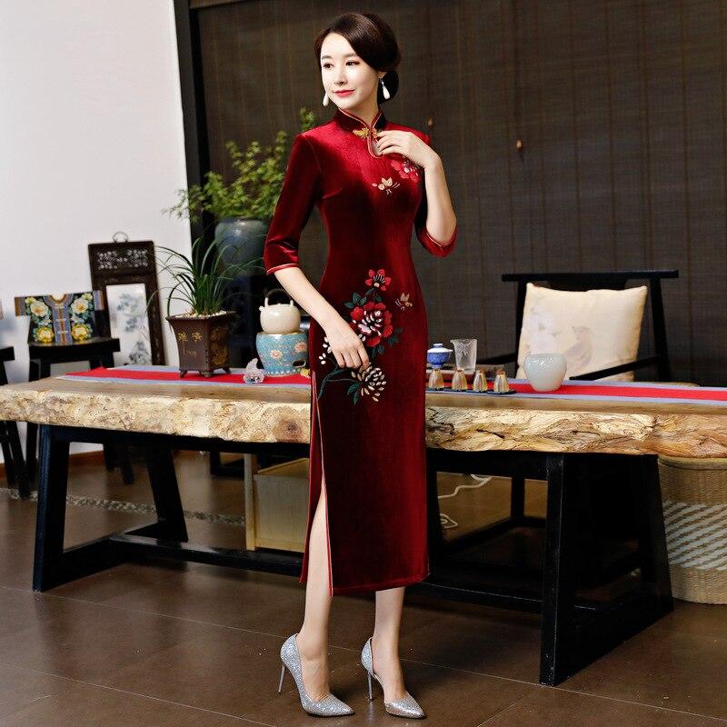 S Sexy Velours xxl 2019 Col Femmes Longue Robes Qipao Partie Robe Traditionnel Mince Chinois Bourgogne Printemps Mandarin Cheongsam rqZrxw51
