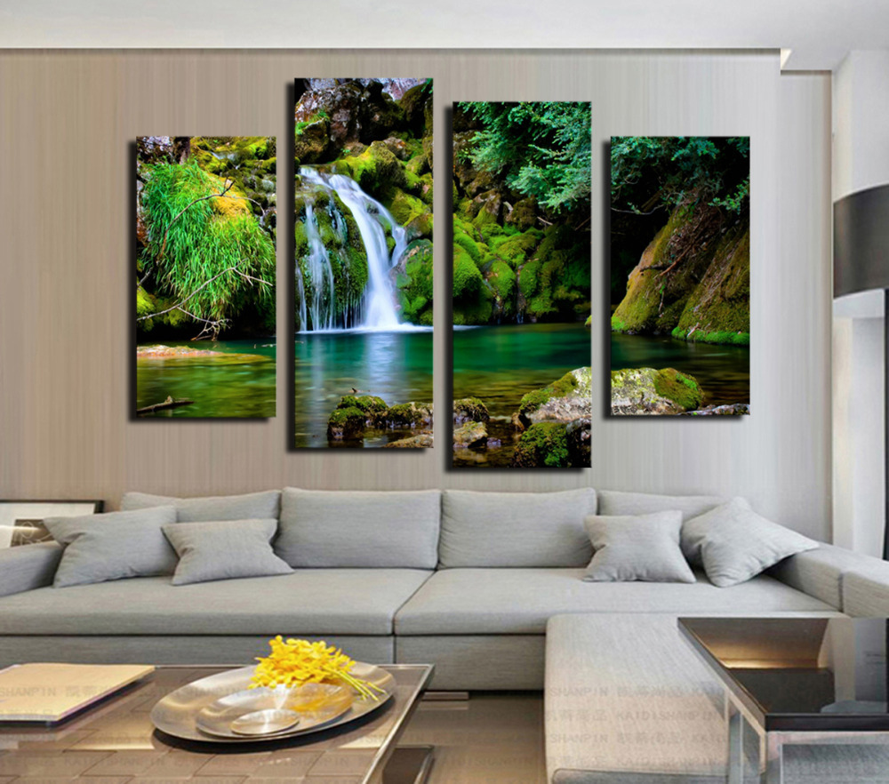 New Fashion 4 Panel Wall Painting Green Forest Waterfall
