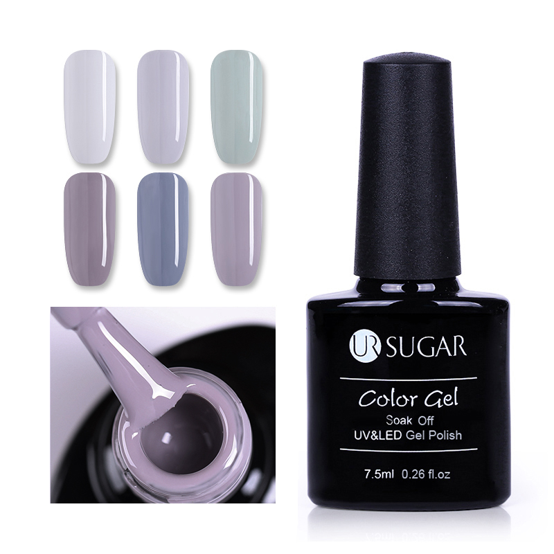 UR SUGAR 7.5ml Grey Nail Gel Soak Off UV Gel Purple Blue Nude Color Base Top Matte Coat Nail Art Gel Polish Lacquer Varnish