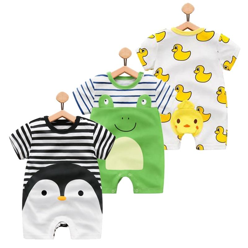 100% de algodón puro bebé niña mameluco de verano de manga corta de dibujos animados de animales mono niño lindo Boutique ropa para ropa de bebé