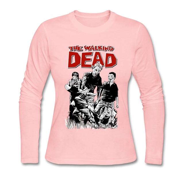 Camisas Engraçadas de T Mulheres dos desenhos animados The Walking Dead Parafuso Pescoço T Das Mulheres Camisas de Manga Longa