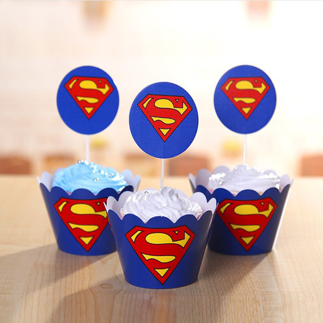 Wholesale Superman cupcake wrappers toppers picks kids birthday