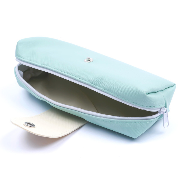Beard Moustache Pure Color Leather Pencil Case Girl Cosmetic Pencil Bag Purse Cute Cosmetics Pouchs For Travel Ladies Women Cosmetic Bags