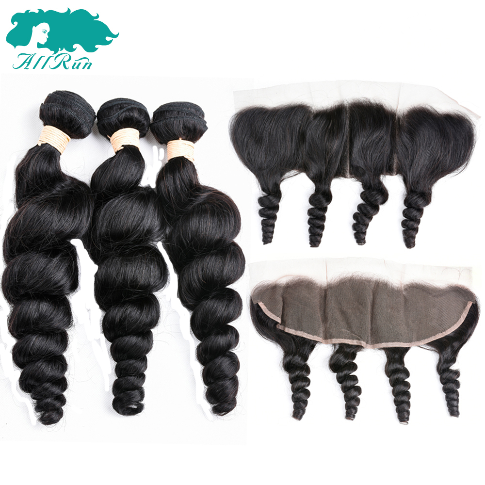 Allrun Brazilian Loose Wave Bundles With Closure 3 Bundles With Frontal Human Hair Weave Non Remy Natural Color