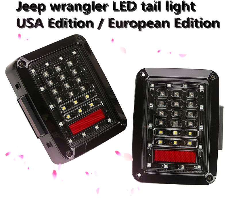 LED Tail Lights for Wrangler Tail Light Brake Reverse Turn Singal Lamp Back Up Rear Parking Stop Light Daytime Running Bulb DRL 1pair led side maker lights for jeeep wrangler amber front fender flares parking turn lamp bulb indicator lens