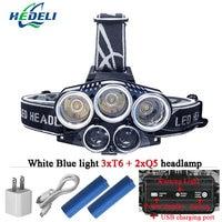 Blue Light White USB 5 Led Headlamp Head Lamp Headlight CREEXM L T6 Q5 15000 Lumens