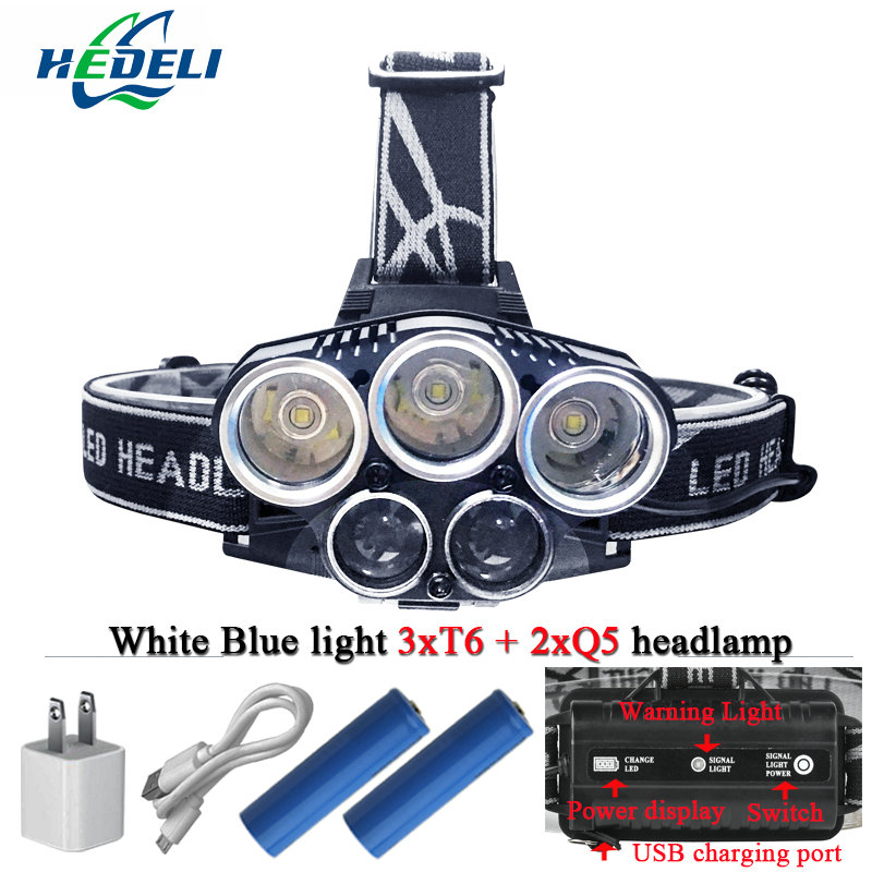 Blue light white USB 5 led headlamp head lamp headlight CREEXM L T6 Q5 15000 lumens powerful led flashlight head torch lamp цена 2017