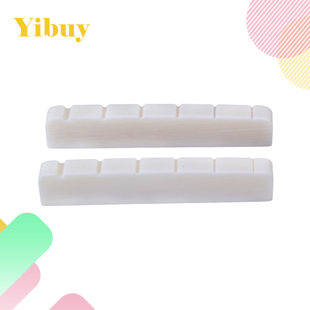 Yibuy 2pcs Cattle Bone White 6 String Electric Guitar Bass Nuts for Guitar Maker yibuy 6 35 mm hole dia 4 string bass pickup for electric cigar box guitar wooden