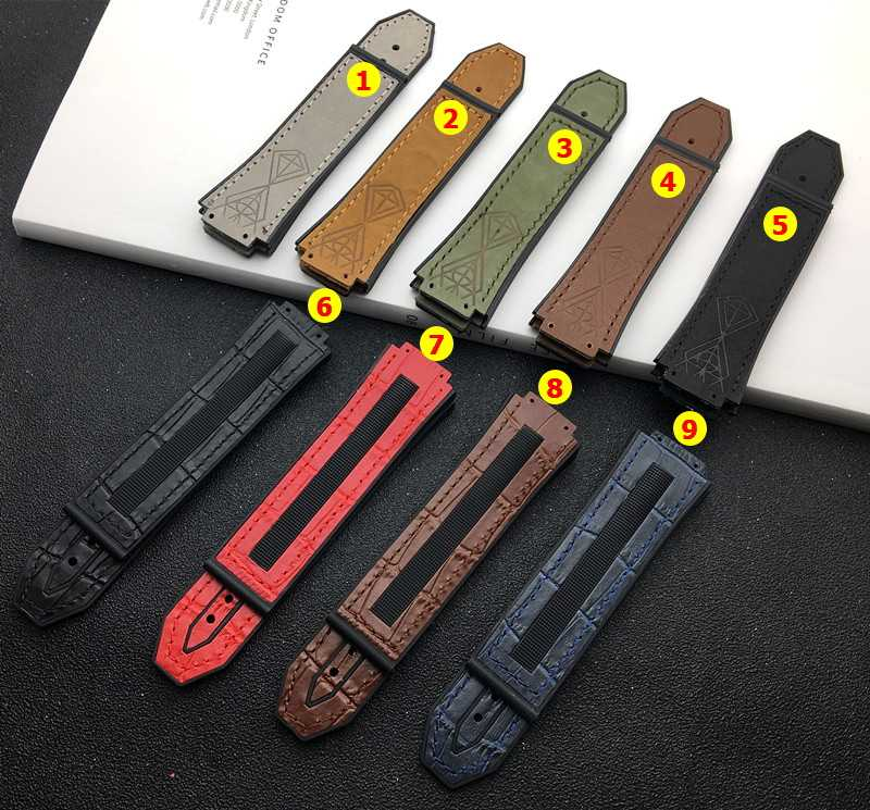 25*17mm real cow leather rubber silicone watchband watch band for Hublot strap for Big bang belt authentic logo red brown black