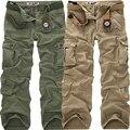 Moda Calças Dos Homens Camo Militar Camuflagem Calças Largas Casuais Ao Ar Livre Algodão Carga Calças Dos Homens Multi-bolsos Macacão tamanho Grande