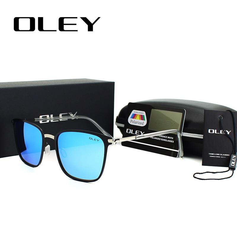 OLEY Unisex Retro  Sunglasses Polarized Lens Vintage Sun Glasses For Men/Women High-grade alloy frame Transparent legs Goggles