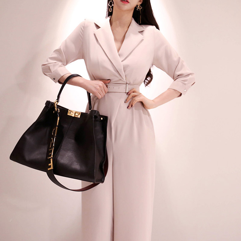 Office Lady Style Elegant Women  Spring Summer Romper Female Overalls  Belt Casual Jumpsuit
