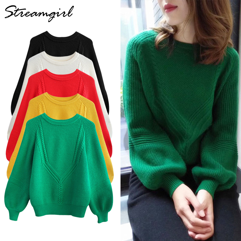 Sweater Female Green Pullover Womens Sweaters 2018 Winter Women Sweater  Women s Lantern Sleeve Sweaters Ladies Pull Femme Hiver-in Pullovers from  Women s ... 32b7b9e44