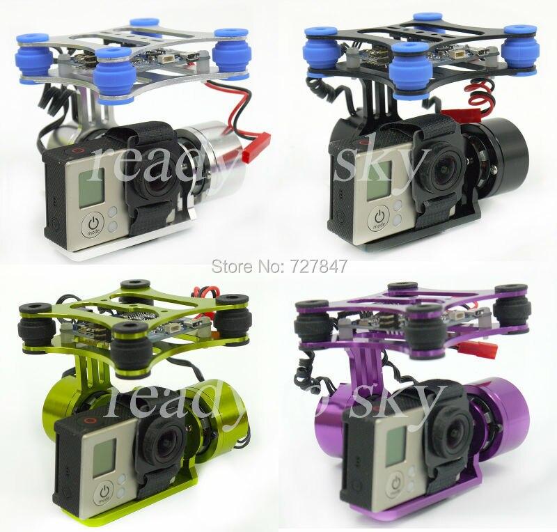 RTF 2 оси металлические Бесщеточный Gimbal w/КУП плате контроллера 2208 двигатели для GoPro 3 Камера 1 2 Walkera x350 Pro