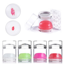 Nail Stamper Silicone Dual-ended Jelly Handle Head Clear White For Art Stamping Plate with Scraper Kits
