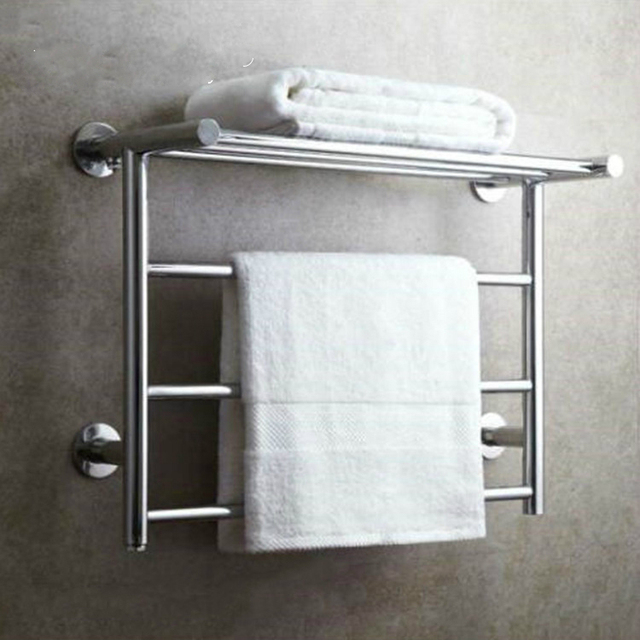 Modern Silver 304 Stainless Steel Electric Towel Rack Polished Chrome Bar Holder Foreign Bathroom