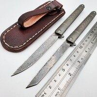 JSSQ سكين للفرد VG10 دمشق شفرة التيتانيوم سكاكين الجيب في الهواء الطلق بقاء التكتيكية سكين صيد التخييم المحمولة EDC أدوات|سكاكين|   -