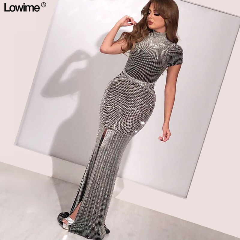 High Split Side Mermaid High Neck   Prom     Dresses   African Women Full Hand Made Beading Sequined Short Sleeves Evening   Dresses