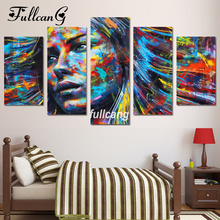 FULLCANG Full Square Diamond Embroidery Colorful Woman 5D Painting Cross Stitch 5PCS Mosaic Needlework D514