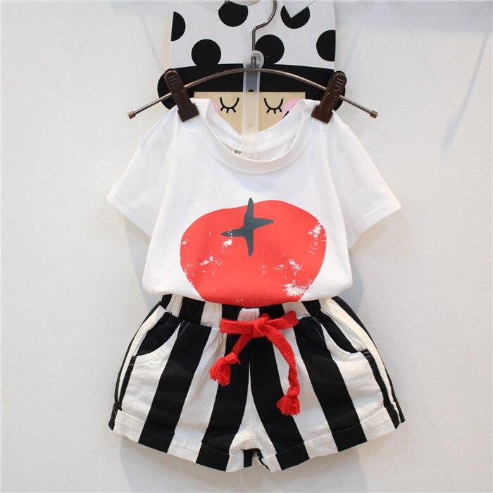 New Baby Summer suit Girls Tomatoes printing short sleeve T-shirt + stripe shortsSuits Children 2pcs set wholesale