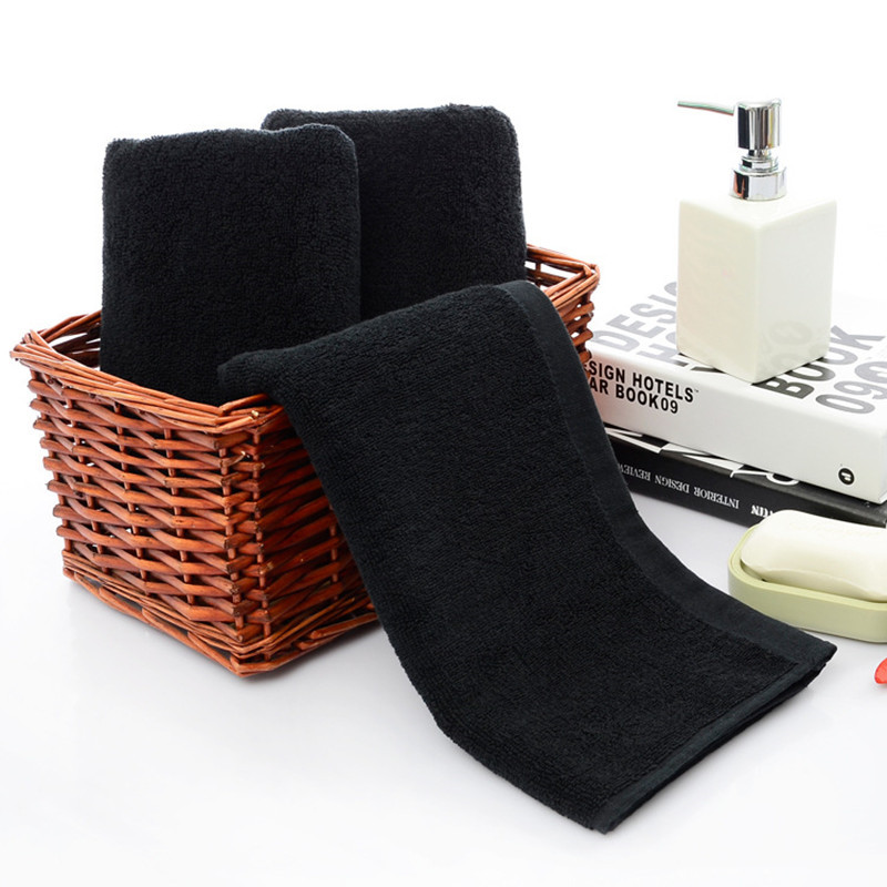 Face-Towels Shower Dry-Hair Bathroom Black Cotton High-Quality Women Water-Absorption