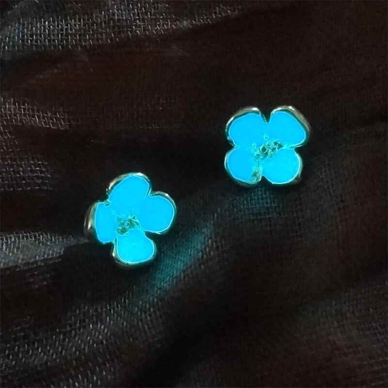 Handmade Glow In The Dark Earrings For Women Cute Flower Glowing Stud Earrings font b Jewelry