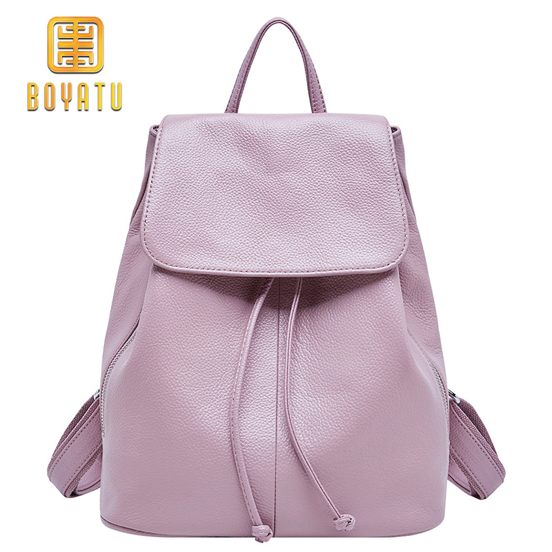 Genuine Leather Backpack Female Brand Fashion School Backpack Women Elegant Travel Shoulder Bag Rucksack Sac a