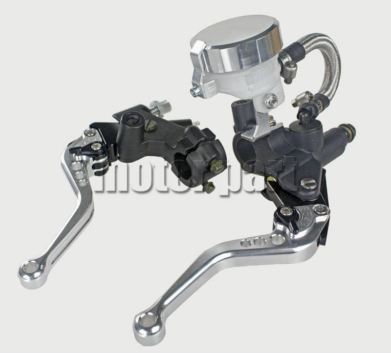 Silver 22mm 7/8 Universal Handlebar Adjustable CNC Brake Clutch Levers Master Cylinder Fluid Oil Reservoir Set For Suzuki universal motorcycle brake fluid reservoir clutch tank oil fluid cup for mt 09 grips yamaha fz1 kawasaki z1000 honda steed bone
