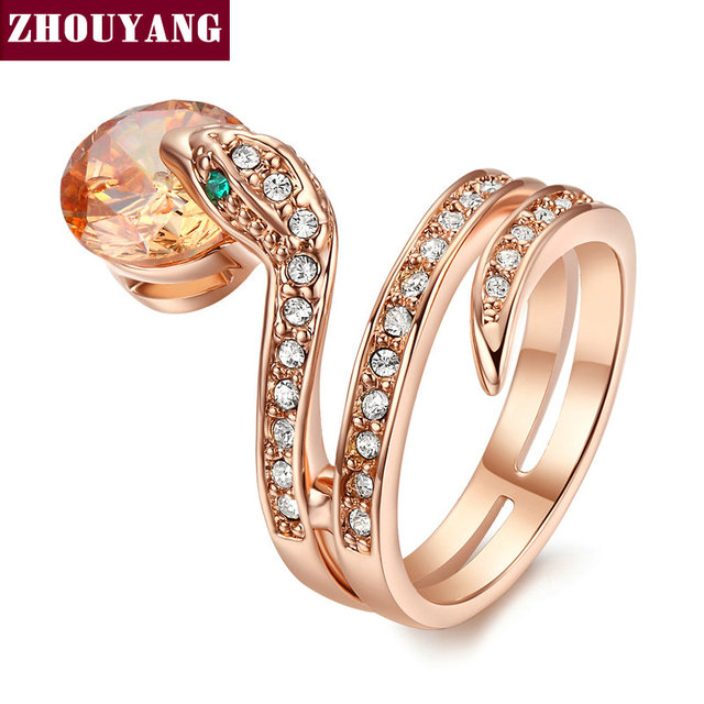 Top Quality ZYR149 Snake Show Bead Ring Rose Gold Color Austrian Crystals Full S
