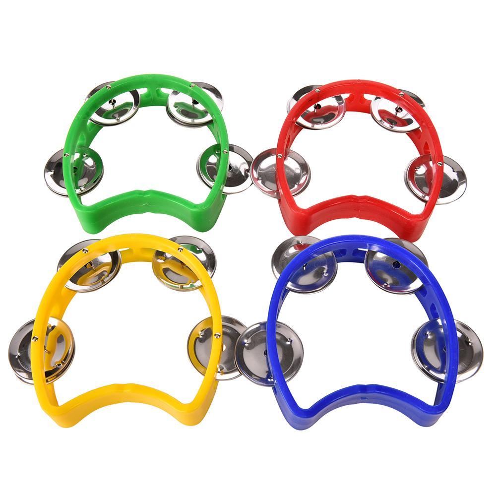 Dia 10cm 1Pc Tambourine Hand Held With Double Row Metal Jingles Percussion Church Band Color Random