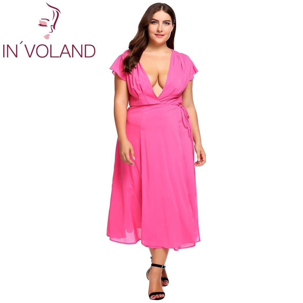 IN\'VOLAND Plus Größe L-3XL Frauen Party Kleid Sexy Wrap Vorder ...